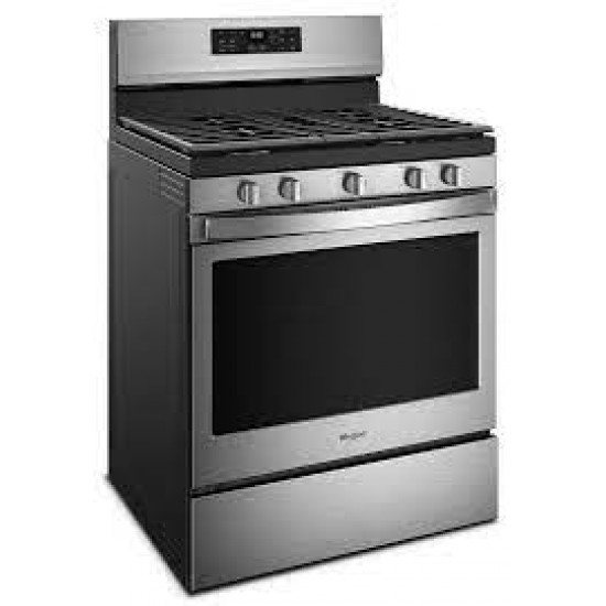 """Whirlpool 30"""" S/Steel 5 Burner Gas Range with 5.0CU.FT Convection Oven"""